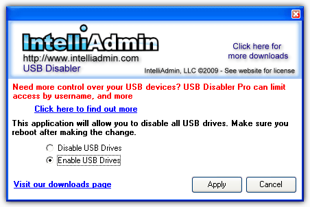 IntelliAdmin USB Drive Disabler