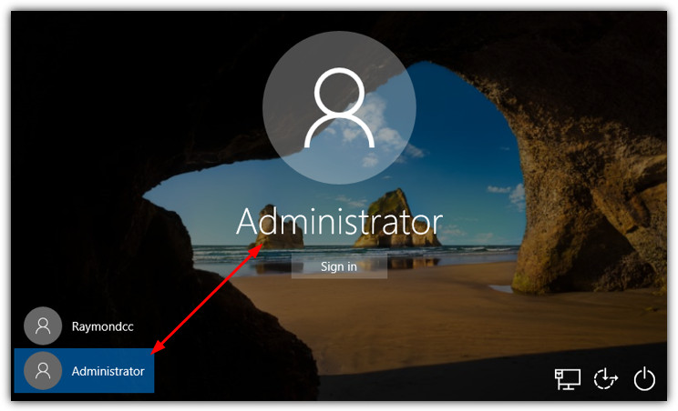 administrator account on logon screen