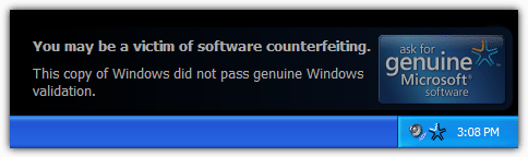 this copy of windows did not pass genuine windows validation