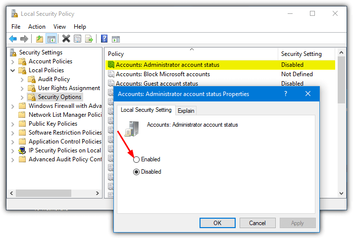 enable Administrator account status