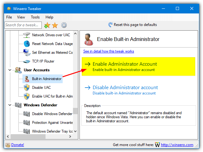 enable administrator account with winaero tweaker