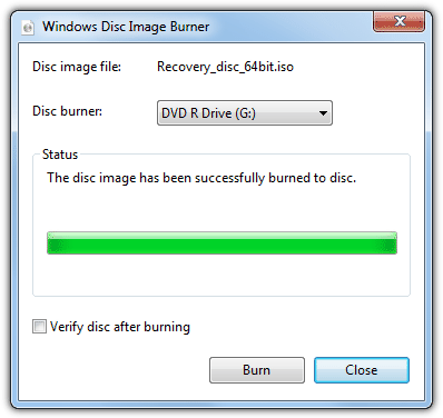 Windows 7 burn ISO