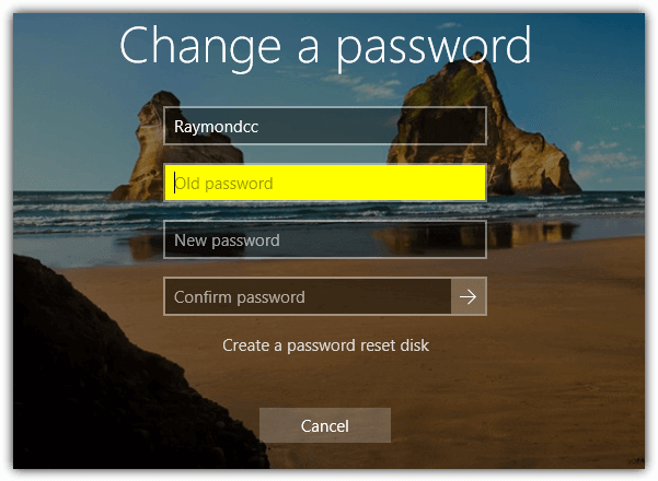 change windows password screen