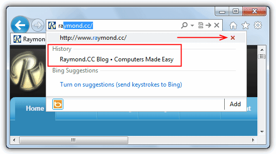 Delete Individual URLs from Web Browser Address Bar history • Raymond CC
