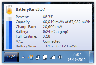laptop battery status in BatteryBar