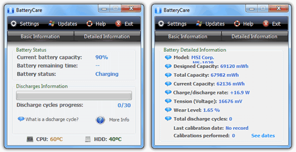 BatteryCare laptop battery status