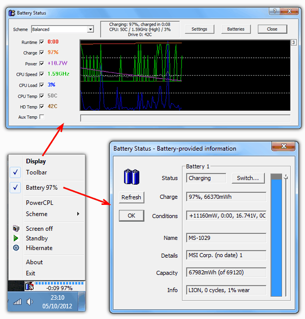 Laptop Battery Status Monitor