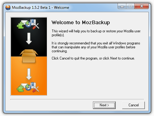 MozBackup welcome screen