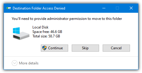 Admin approval mode prompt