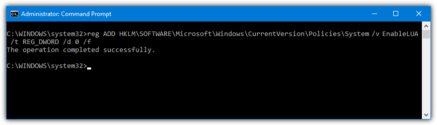 Disable uac command prompt