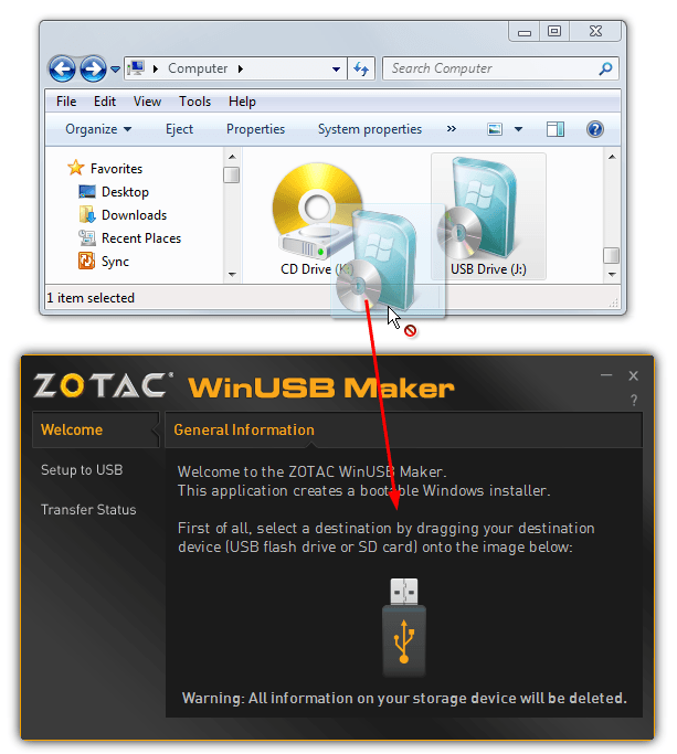 drop drive onto winusb maker