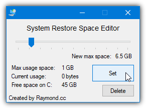 system restore space editor