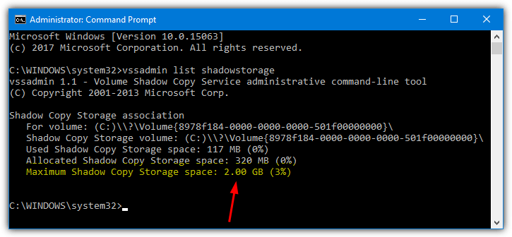 vssadmin list shadowstorage