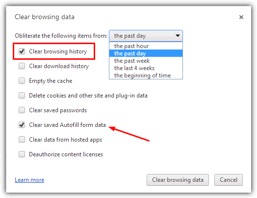 How to delete previous searches on google chrome