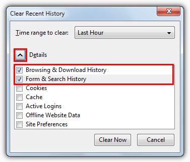 how to delete address bar history