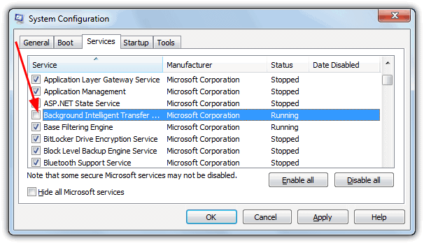 disable background intelligent transfer service to fix taskbar hang