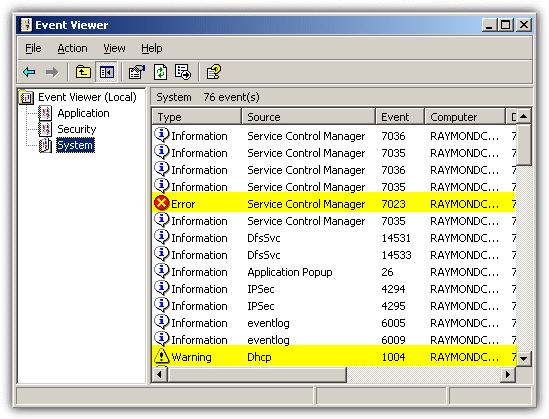 checking for errors in event viewer