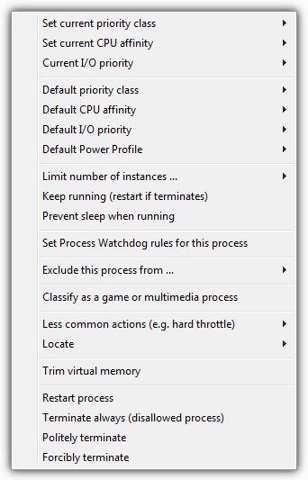 Process Lasso Context Menu