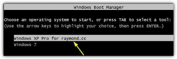 Choose an operating system to start