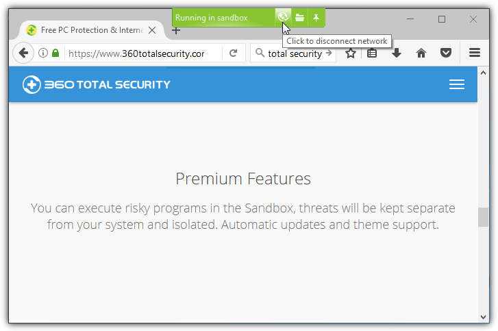 firefox in sandbox with 360 total security