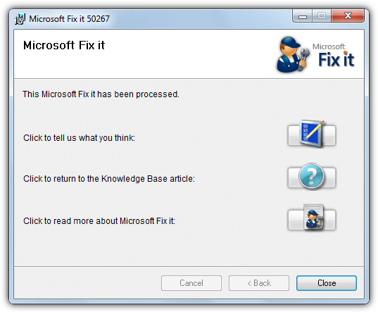 reset hosts file with fixit 50267