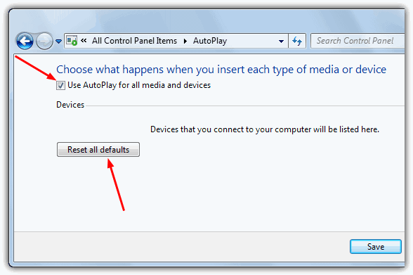 Reset Windows 7 Autoplay