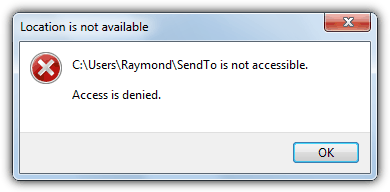 SendTo Start Menu Access Is Denied