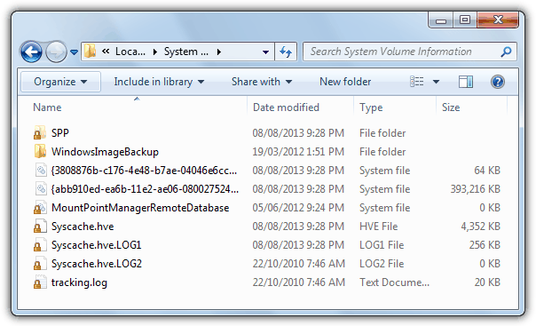 contents of system volume information folder