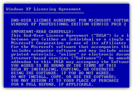 Agree Windows XP Licensing Agreement