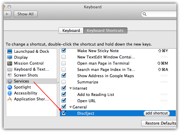 create diskeject shortcut