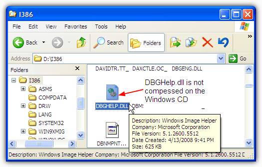 dbghelp.dll on the windows cd