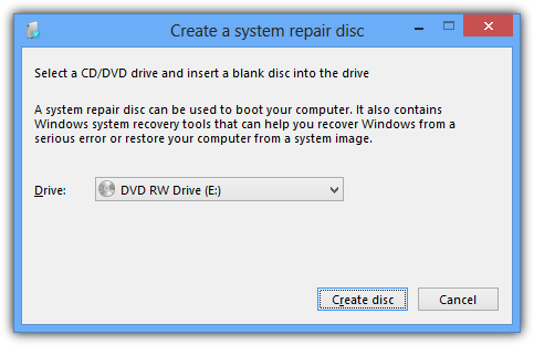 recdisc function in Windows 8