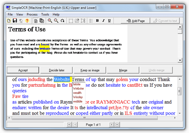 The SimpleOCR Software Is Free For Personal Educational And Commercial Use Accepts Input From A Scanner JPG BMP Multiple Page TIFF Images