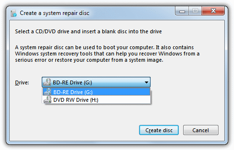 windows repair disc creator dialog