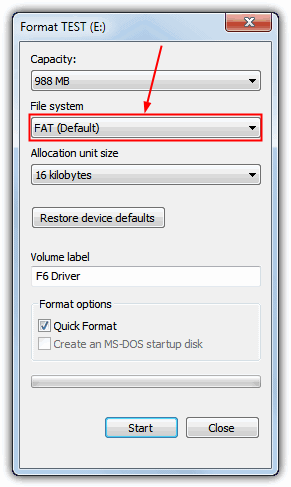 Format USB as FAT16
