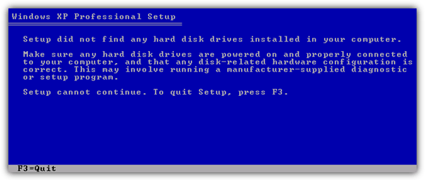 Setup did not find any hard disk drives