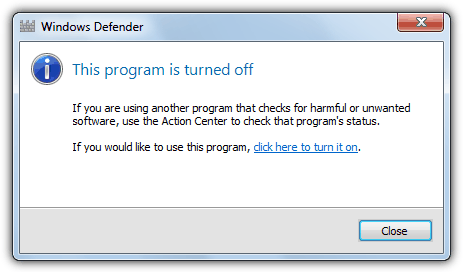 windows defender program is turned off