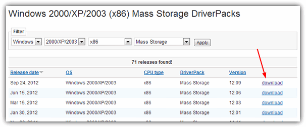 Mass Storage DriverPacks