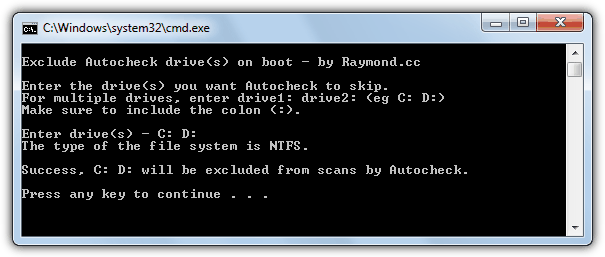 autocheck boot exclude