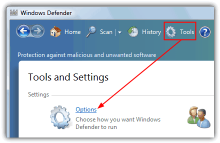 windows defender tools option