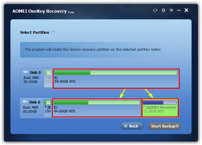 onekey partition split