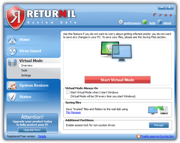returnil system safe virtual mode