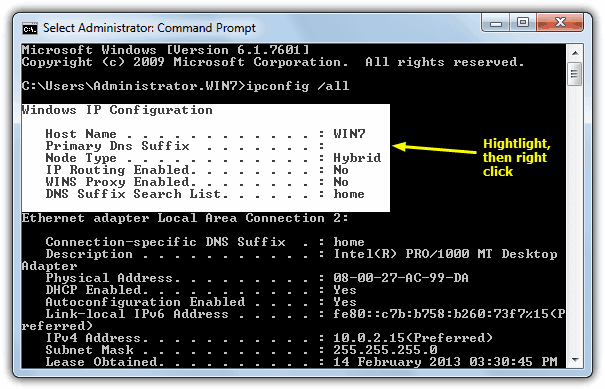 Mark Command Prompt