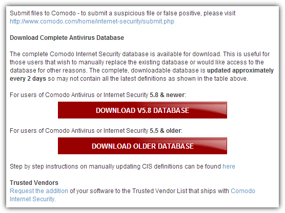 comodo complete antivirus database