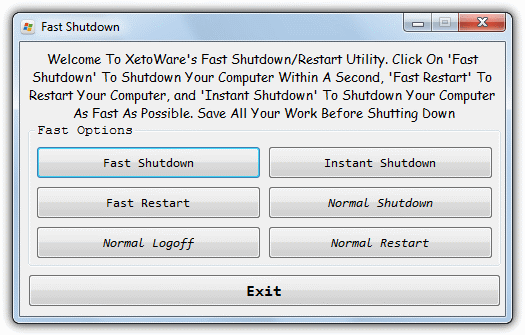 fast shutdown options