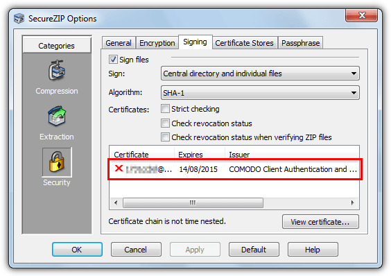 installed securezip digital certificate