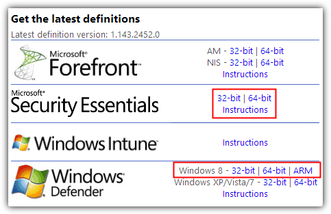 Windows Defender latest definitions