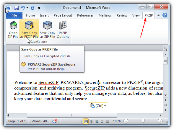save securezip from office