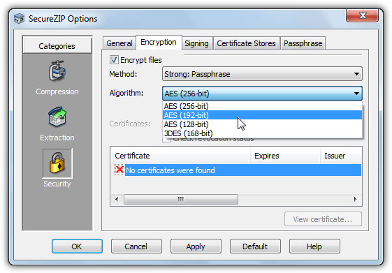 securezip encryption options