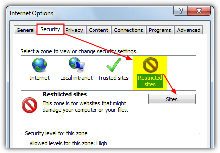 internet explorer restricted sites